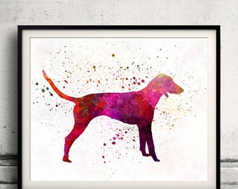 Poitevin 01 in watercolor - Fine Art Print Poster Decor Home Watercolor Illustration Dog - SKU 2020