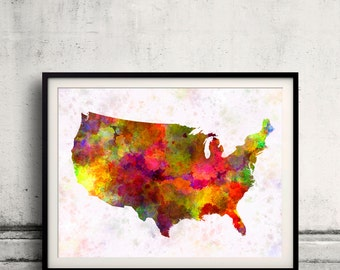 United States map in watercolor painting abstract splatters - Fine Art Print Glicee Poster Gift Illustration Colorful USA - SKU 0719