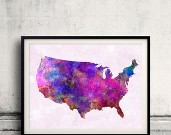 United States map in watercolor painting abstract splatters - Fine Art Print Glicee Poster Gift Illustration Colorful USA - SKU 0720