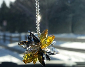 Steelers car charm, Pittsburgh steelers, steelers fan, crystal car charm,  crystal suncatcher,  rear view mirror,  Pittsburgh car charm,