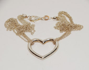 "Sterling Silver Four Chain 16"" Long Heart Necklace."