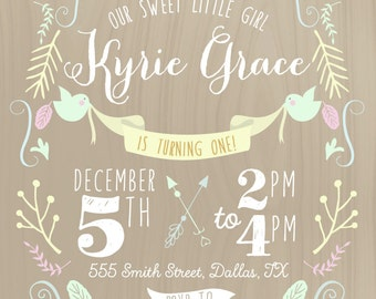 Whimsical Woodlands | Girl's Birthday Party Invitation  | PERSONALIZED