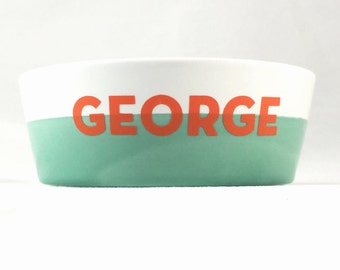 Personalized Dog Bowl Small, Custom Pet Dish, Dog Gift, Modern Dog, Custom Pet Dish, Mint Colorblock Pet Bowl, Water Bowl