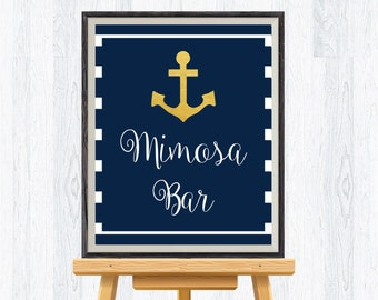 Mimosa bar sign, gold foil nautical, anchor, wedding sign, printable, INSTANT DOWNLOAD