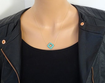 Turquoise Four Leaf Clover Necklace, 14k gold filled necklce / Sterling Silver, Clover Necklace