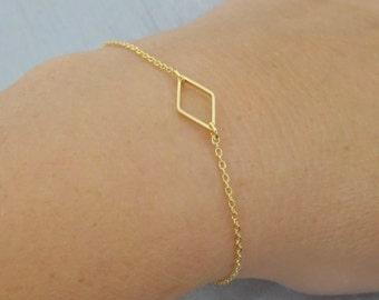Diamond Gold Bracelet, Dainty Bracelet, Tiny Diamond Bracelet, 14 k Gold fill chain Lyering Bracelet, Geometric Bracelet