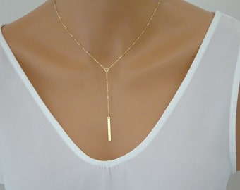 Y Necklace, Delicate y gold necklace, Tiny Triangle lariat, Skinny Bar Drop Necklace, Minimal  Bridesmaid necklace, Birthday jewelry gifts