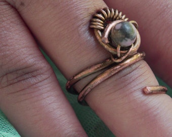 Rhodonite Solitaire Ring-Wire Wrapped Copper Ring-Rhodonite Wire Wrapped Jewelry-Copper Jewelry