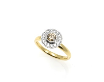 Gabriel, halo ring champagne Diamond ring, champagne diamond ring, 18 ct ring, gold ring, yellow gold ring, engagement ring