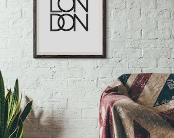 London Poster, London Typography Print, London Decor, London Wall Art, Simple London Print, London Wal Decor, London Art Print, London Gift