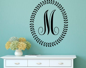 Initial Wall Decal Letters- Personalized Initial Letters Monogram Family Name Wall Decals Stickers Nursery Bedroom Wall Art Home Decor M030