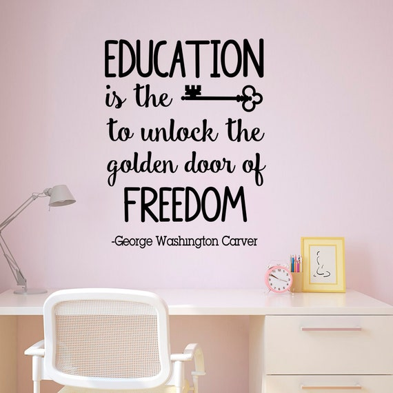 Wall Art Quotes For Pubs : Wall decal quote education is the key to unlock golden