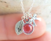 Heart Necklace, Leaf Necklace, Swarovski Necklace,Handstamp Necklace,Handstamp Jewelry,Sterling Silver,Charms Necklace,Gift for Her