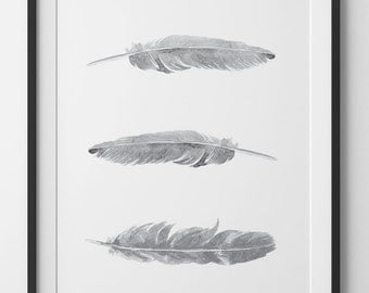 Grey Feathers Print, Grey Watercolor Feathers, Grey Watercolor Print, Feather Wall Art, White Feathers Wall Print, Bohemian Wall Art