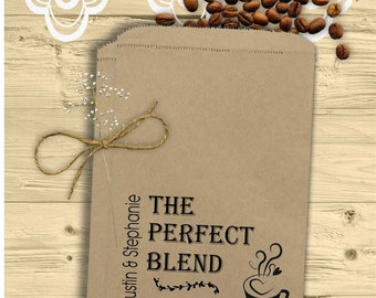 Personalized Coffee Tea Favor Bags - The Perfect Blend - Engagement Bridal Shower Wedding Anniversary Favors - Coffee Favors - COFpb