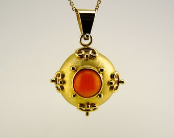Mexican Fire Opal pendant, Opal gold pendant, 14K solid yellow gold, orange stone pendant, natural stone pendant, Orange Opal pendant