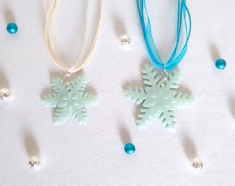 Snowflakes with glitter hand made polymer clay pendants