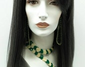 Long 20 inch Charcoal Ash Black Heat Resistant Wig. Vampiress Wig. Witch Wig.