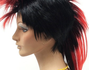 Black and Red Mohawk Wig. Men's Punk Rock Wig. Costume Wig. [09-52-Mohawk-1TRed]