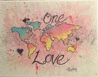 One Love World Prints/tribal/watercolor/abstract/multicolored world map