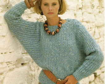 Ladies Knitting Pattern - Dolman Sleeve Sweater - 30 to 40 inches