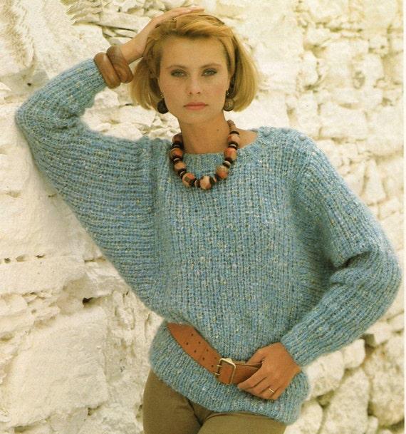 Knitting Pattern For Dolman Sleeve Sweater : Ladies Knitting Pattern - Dolman Sleeve Sweater - 30 to 40 ...