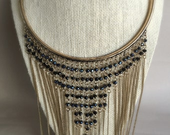 Statement bib necklace / Long chain bib necklace