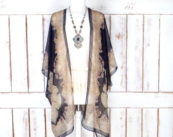 Black/tan tribal bohemian print sheer silk kimono cardigan/paisley floral cover up blouse/gypsy festival top/LIMITED EDITION