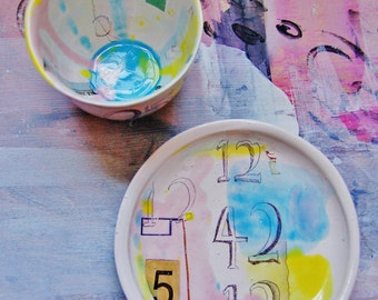 Quirky modern plate + bowl set. Entitled 'Watercolour Countdown'