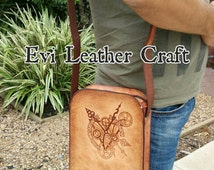 Steampunk  Leather mens bag, hand stitched, hand tooled embossment and pyrography, clock  handmade crossbody bag, unique OOAK  men's bag
