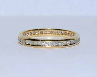 Vintage 14k Yellow Gold Round Brilliant Cut Diamond Eternity Band Ring Size 6.75