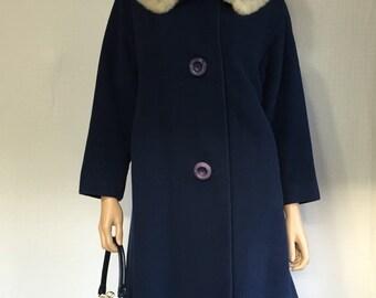 Vintage 1950s Blue Cashmere Coat with Mink Fur Collar - Mid-Century Bloomingdale's Rencroft Coat - 50s Rockabilly Coat