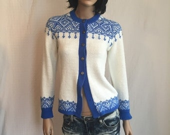 Vintage 60's Cardigan Sweater Medium *Rockabilly Sweater *Retro Penney's Sweater * Blue and White Alpine Ski Sweater