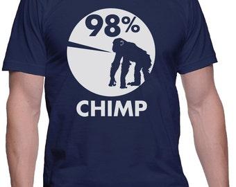 98% Chimp T-Shirt Monkey Shirt Funny Animal Shirts Ape T-Shirt Science T-Shirt Funny Graphic Tees Science Shirt Evolution Shirt Evo Tees