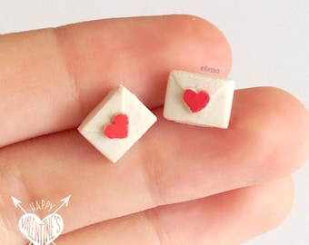 Valentine's/Mother's Day || Miniature Heart Sealed Envelope Earrings