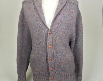 Sale! Men's, Vintage, Wool Cardigan, Leather Patches // Retro, Unisex, Size Medium, Large