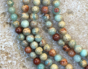 """6mm Blue Opal Beads - Smooth Round Blue Opal Beads - 6mm round, FULL 16"""" strand (about 66 beads) - G871"""