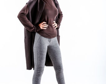 Womens Blouse, Long Sleeve Top, Long Sleeve Blouse, Winter Top, Elegant Top, Winter Blouse, Romantic Top, Sweater Blouse, Brown Blouse