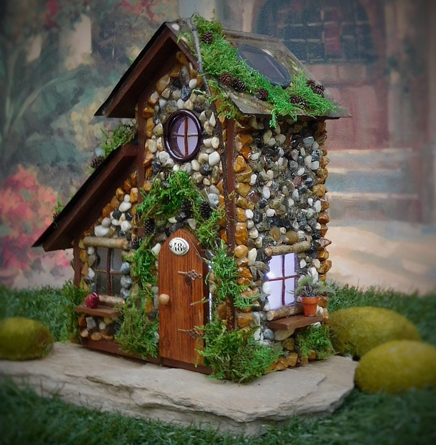 Fairy house with solar lights fairy cottage by for Outdoor fairy door