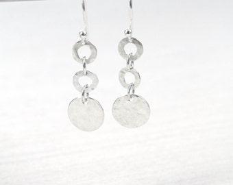 Hammered Trio Earrings / handmade earrings
