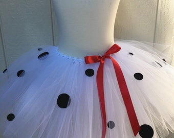 dalmatian tutu - dalmation tutu -  halloween costume - dalmatian skirt - dalmation halloween costume - white and black tutu - polka dot