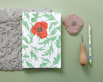 Notebook A5 poppy and leaves. 40 white pages.  Linocut. Pressing 2 colors. Red and green.