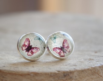 Butterfly Post Earrings Butterfly Stud Earrings Pink Butterfly Earrings Glass Dome Earrings Small Stud Earrings  Anniversary gift for her