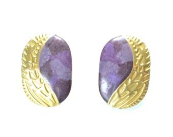 Vintage 80s Berebi Earrings, Designer Earrings, Gold-tone Metal and Purple Enamel
