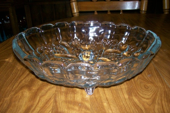 Vntg clear glass oval centerpiece fruit bowl crystal hppenings