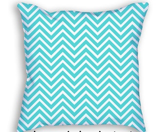 Blue Chevron Pillow Cover and Insert Zig Zag Throw Pillow Decorative Acent Art Nursery Pillow cushion Home Decor Baby Shower Gift 4011