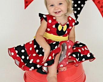 Disney Theme Minnie Mouse Custom Boutique Pageant Dress... Sizes available 12M-10