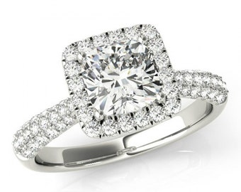 1 Carat Cushion Diamond and Halo Engagement Ring 18k White Gold or Platinum - 1 Carat Diamond Engagement Rings For Women