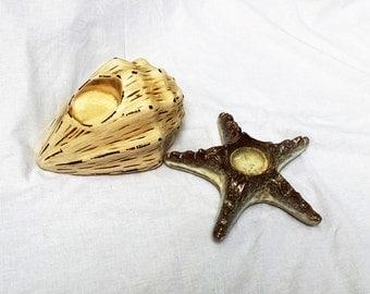 Beach Decor / Seashell Candle Holders / Starfish Tea light holder/  Beach candle Holders /  Pair of seashell Decor / Nautical decor / shells