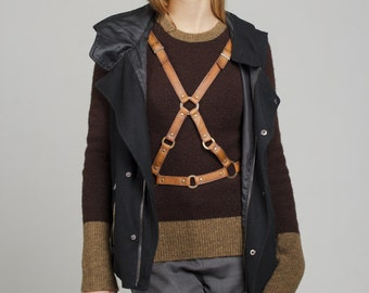 """Hand-made leather harness women, """"Triangle at the front side"""" body harness"""
